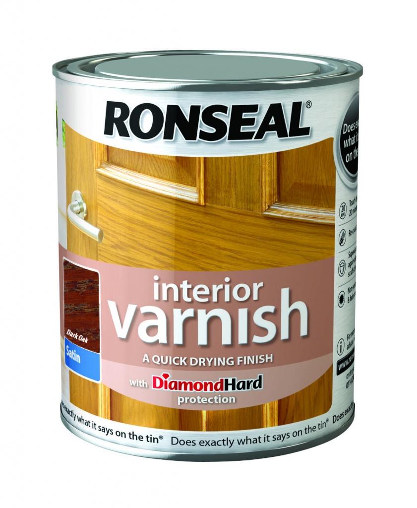 Ronseal Interior Varnish Satin 750ml - Dark Oak