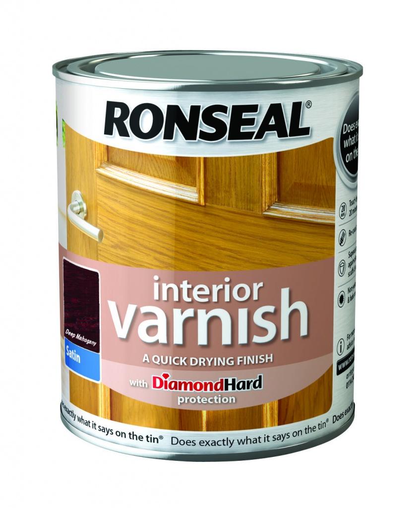 Ronseal Interior Varnish Satin 750ml - Deep Mahogany