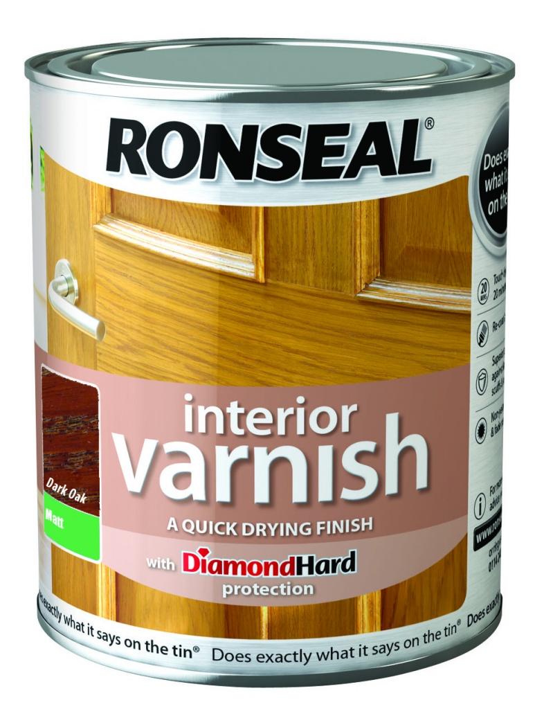 Ronseal Interior Varnish Matt 250ml - Dark Oak