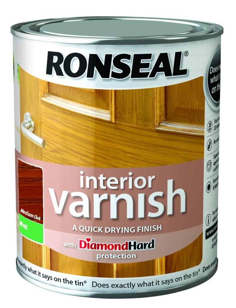 Ronseal Interior Varnish Matt 750ml - Medium Oak