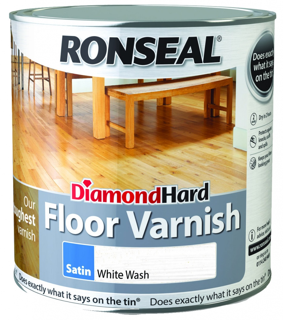 Ronseal Diamond Hard Floor Varnish 2.5L - Satin Whitewash