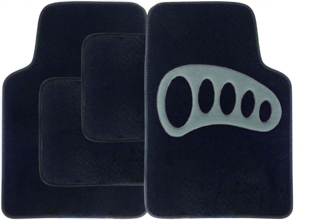 Streetwize Carpet Mat Set - 4 Piece - Black with Grey Heel Pad