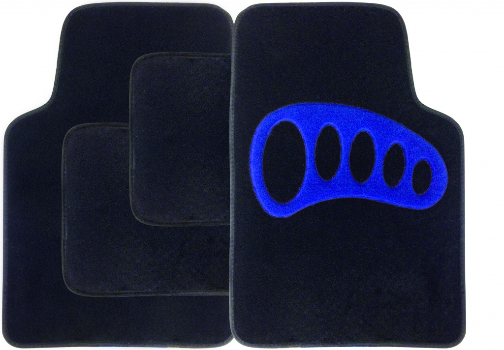 Streetwize Carpet Mat Set 4 Piece - Black with Blue Heel Pad