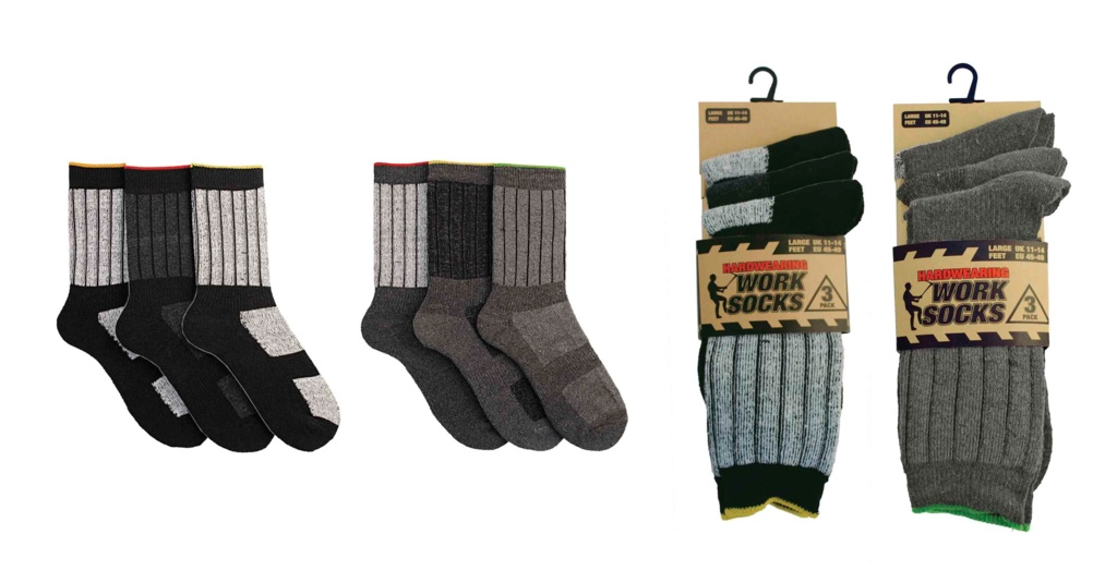 RJM Mens Work Socks - Pack 3, UK 7-11
