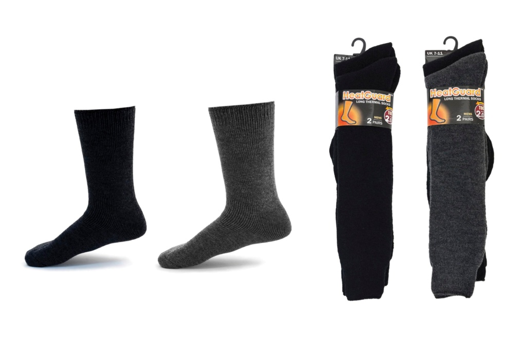 Heatguard Mens Long Thermal Socks  - Pack 2, UK 7-11