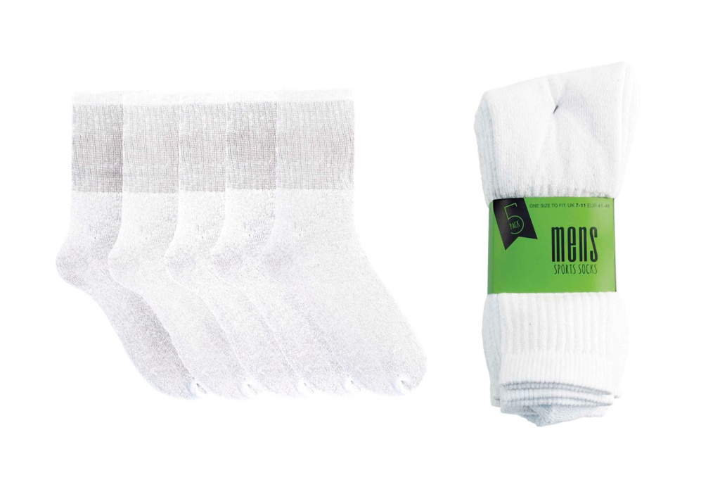 RJM Mens Sports Socks - White Pack 5, UK 7-11
