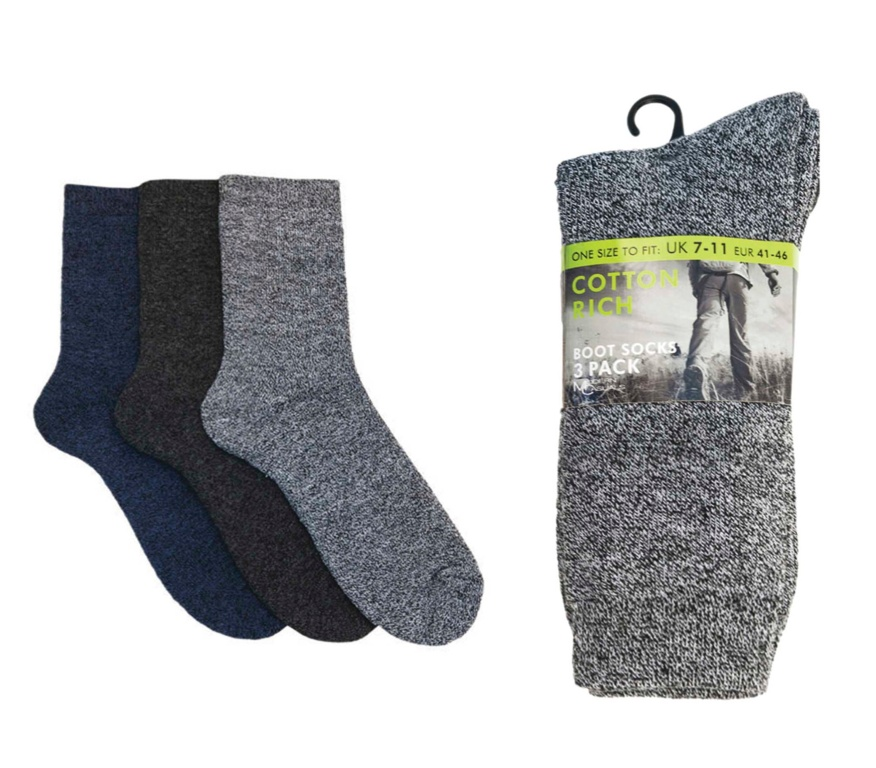 Cotton Rich Mens Boot Socks - Pack 3, UK 7-11