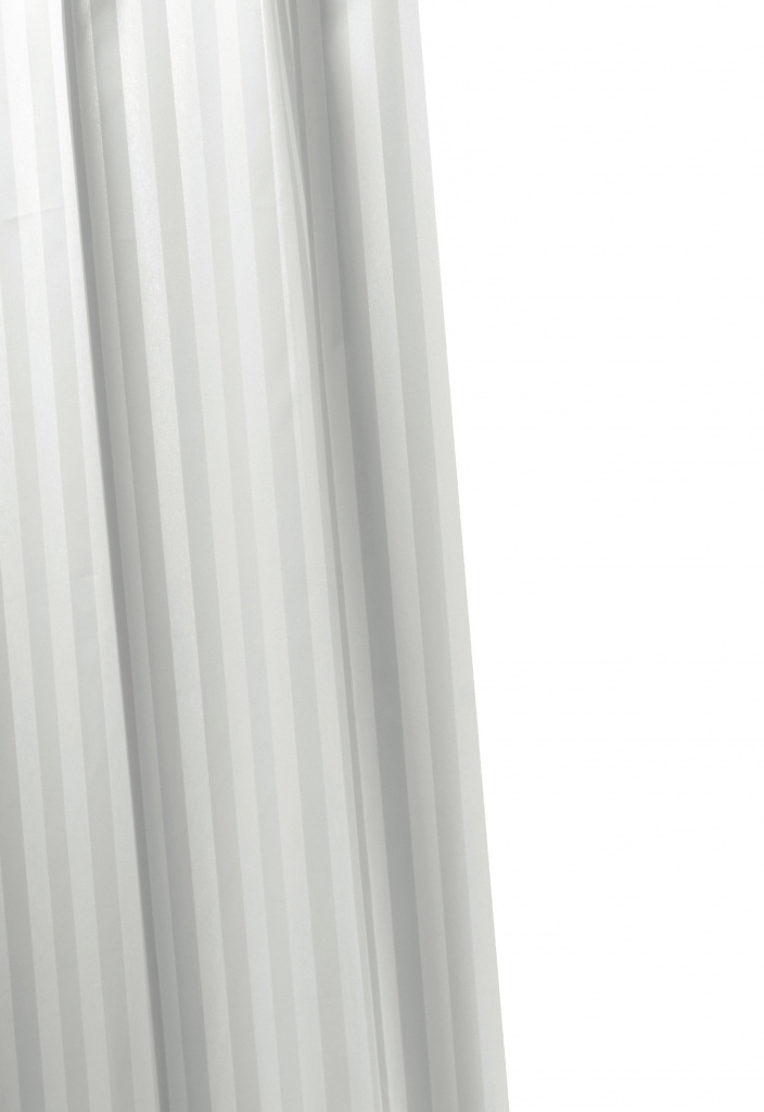 Croydex Woven Stripe Shower Curtain - 1800mm x 1800mm White