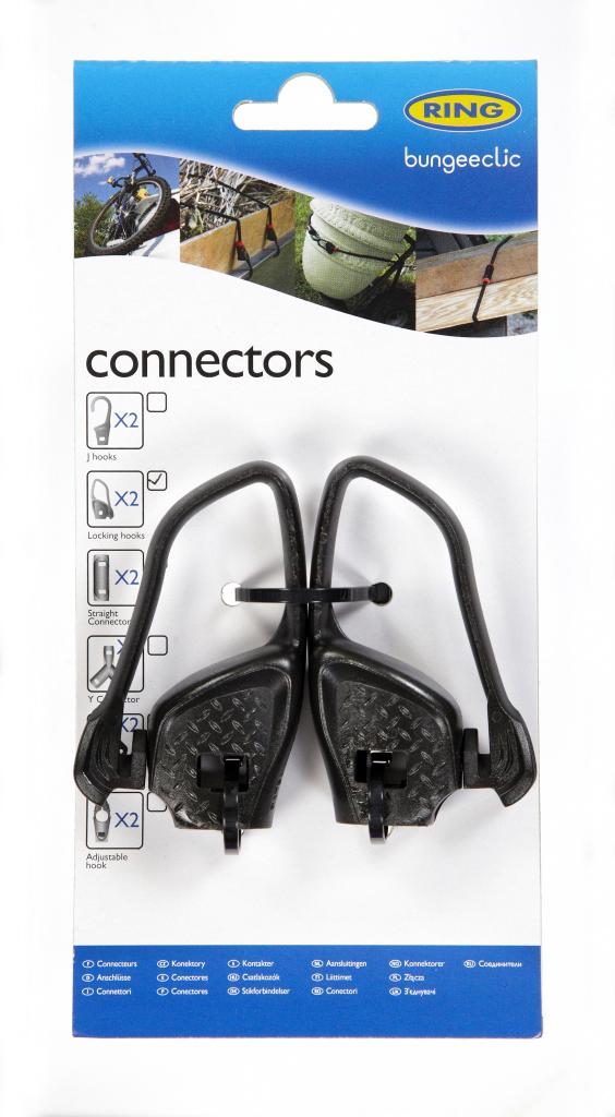 Ring Bungee Clic Locking Hooks - Twin Pack