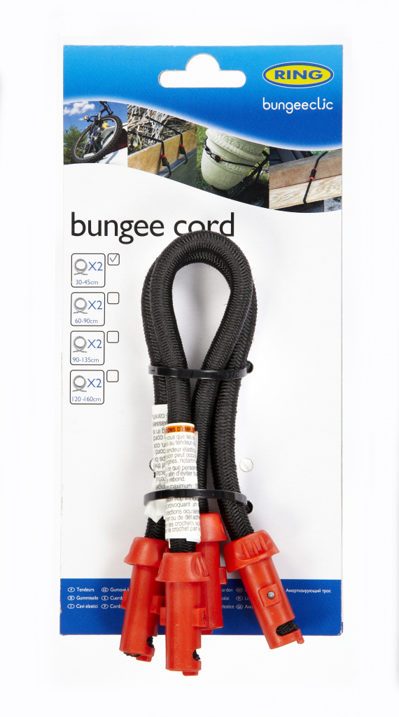 Ring Bungee Clic Cords Twin Pack - 30cm