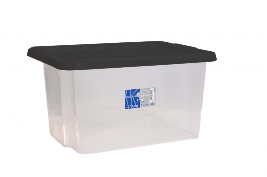 TML Car Boot Storage Box & Black Lid - 35L Clear