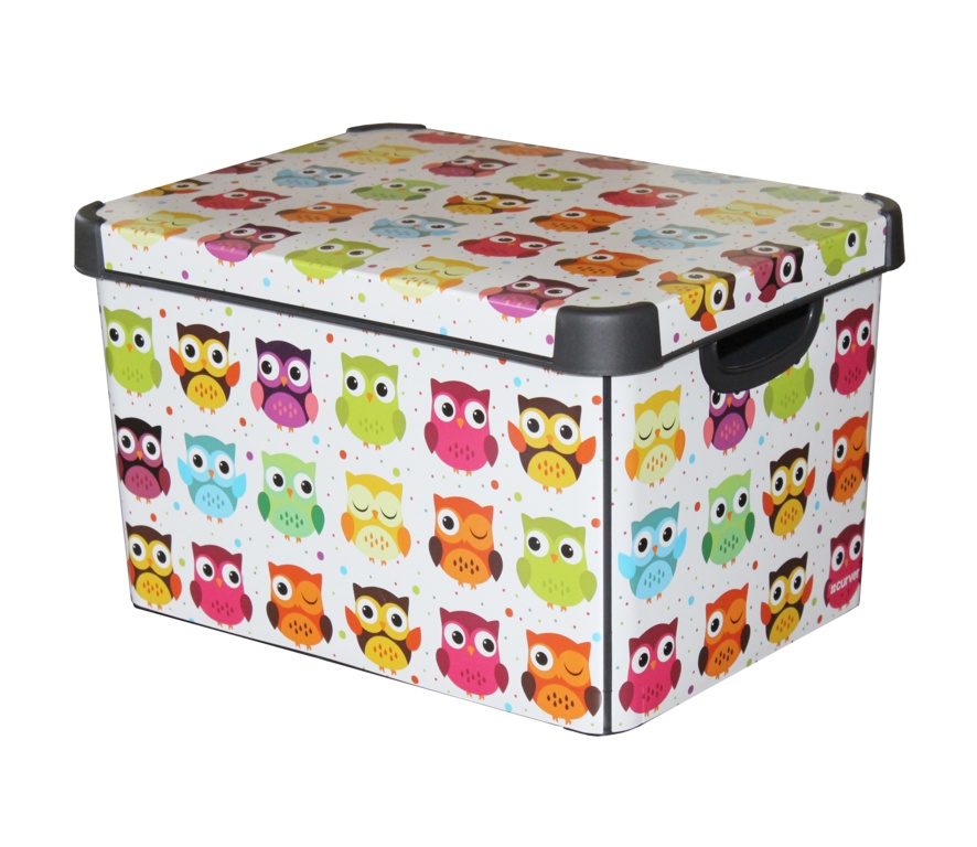 Curver Large Stockholm Deco Storage Box - 22L Owls