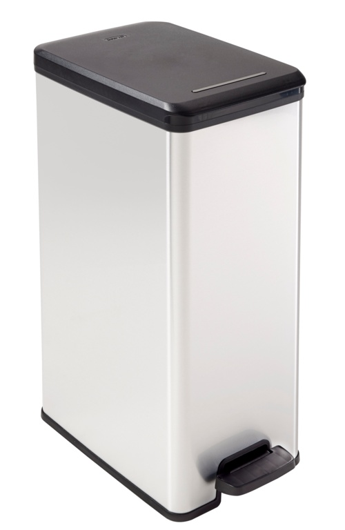 Curver Slim Line Stainless Steel Effect Deco Pedal Bin - 40L