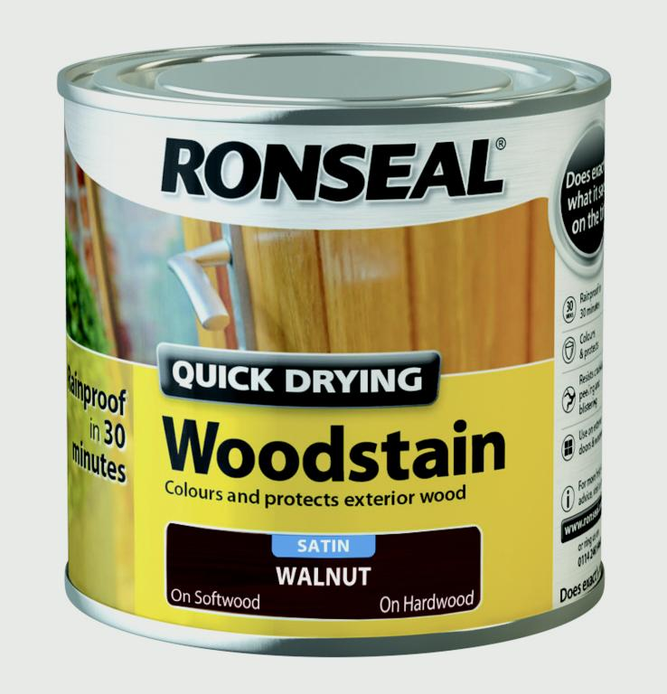 Ronseal Quick Drying Woodstain Satin 250ml - Smoked Walnut