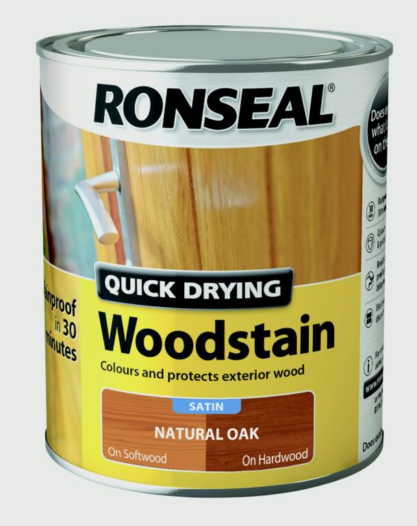 Ronseal Quick Drying Woodstain Satin 750ml - Natural Oak