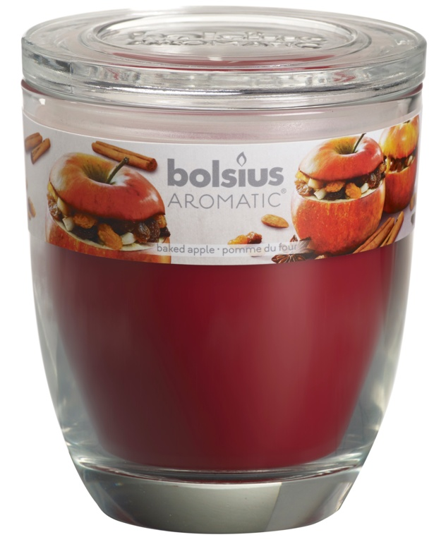 Bolsius Glass Scented Candle With Lid - Baked Apple