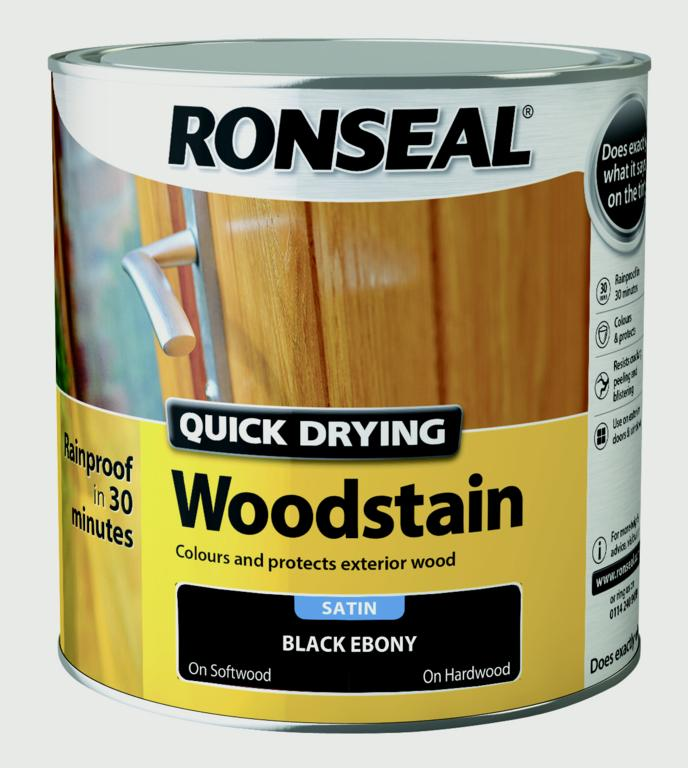 Ronseal Quick Drying Woodstain Satin 2.5L - Ebony