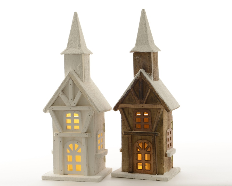 Kaemingk Indoor LED Wooden Tower 2 Assorted - 26cm Warm White
