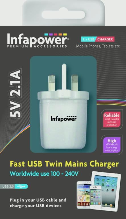 Infapower Fast USB Twin Mains Charger - 2100ma