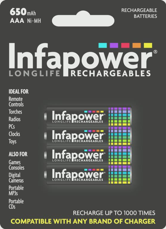 Infapower AAA 650mah Nimh Rechargeable Batteries - Pack 4