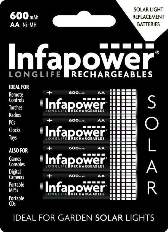 Infapower AA 600mah Nimh Rechargeable Batteries - Pack 4