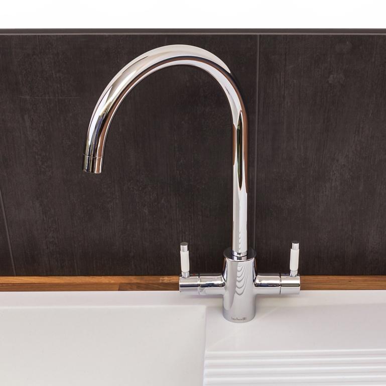Reginox Genesis Kitchen Tap - Chrome with white ceramic handles