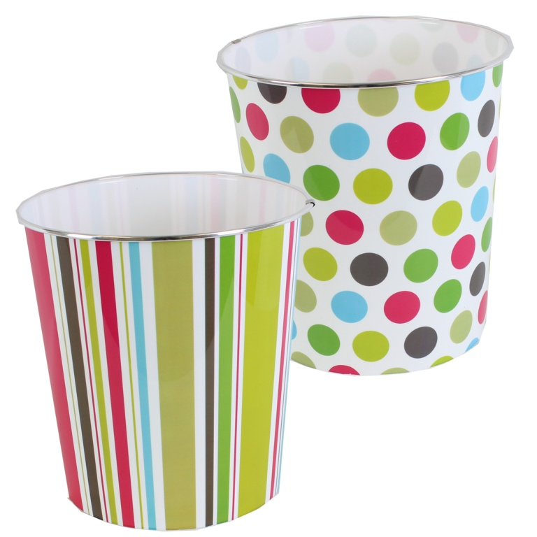 JVL Waste Paper Bin - Spots & Stripes Assorted