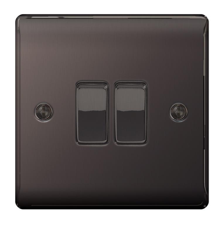 BG Nexus Metal Black Nickel 10ax Plate - 2 Gang