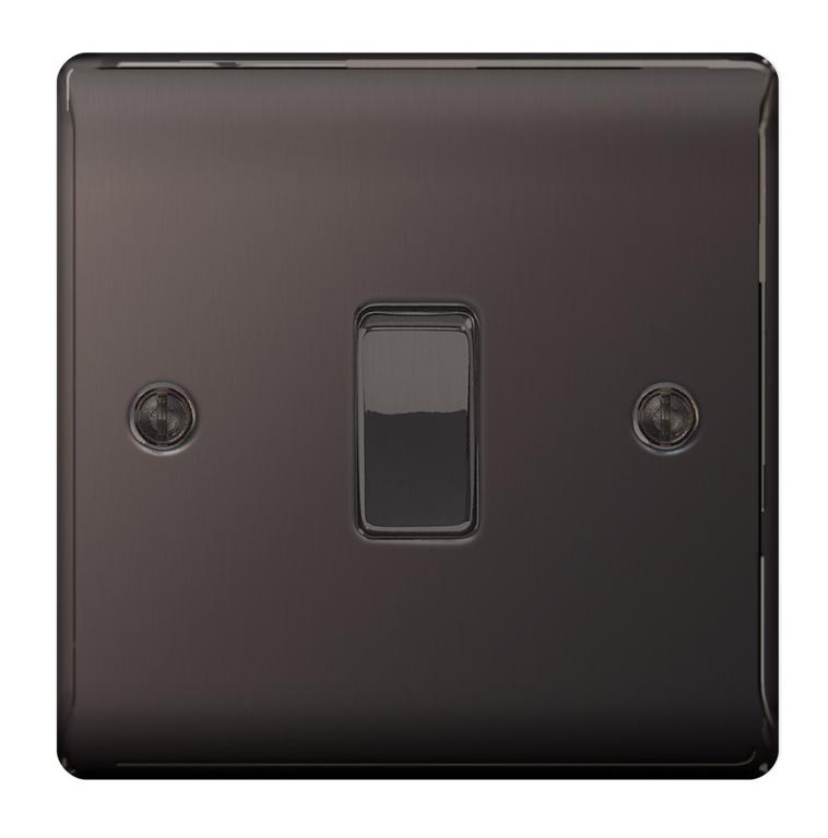 BG Nexus Metal Black Nickel 10ax Plate - 1 Gang