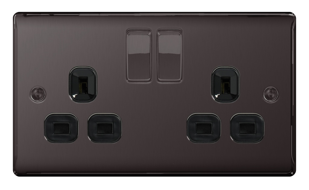 BG 13a 2 Gang Switch Socket - Black Nickel With Black Inserts