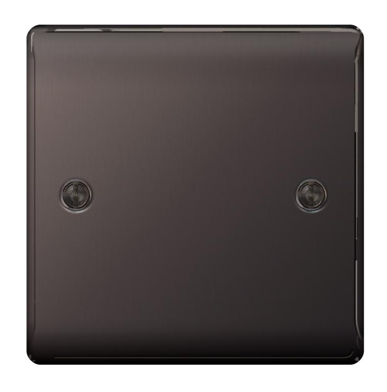 BG Blank Plate 1 Gang Black Nickel