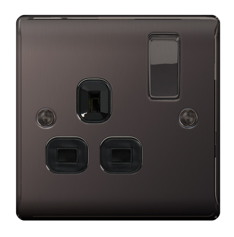 BG Metal Black Nickel Switched Socket - 1 Gang