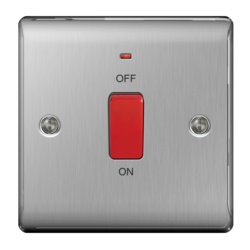 BG Neon Single Switch 45a Double Pole Brushed Steel
