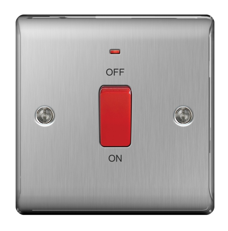 BG Neon Single Switch 45a Double Pole - Brushed Steel