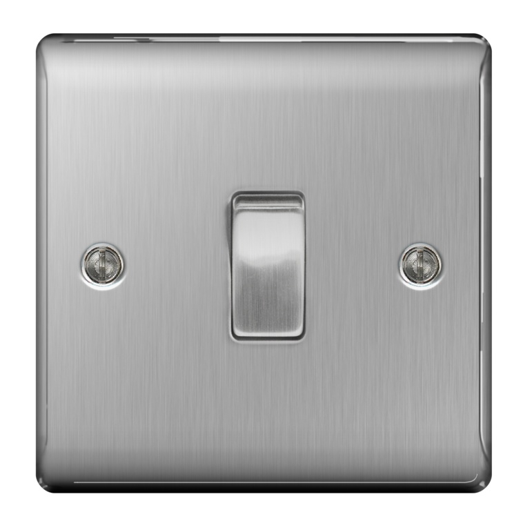 BG Brushed Steel 10ax Plate Switch 2 Way - 1 Gang