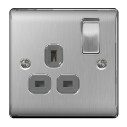 BG Brushed Steel Switched Socket 13a