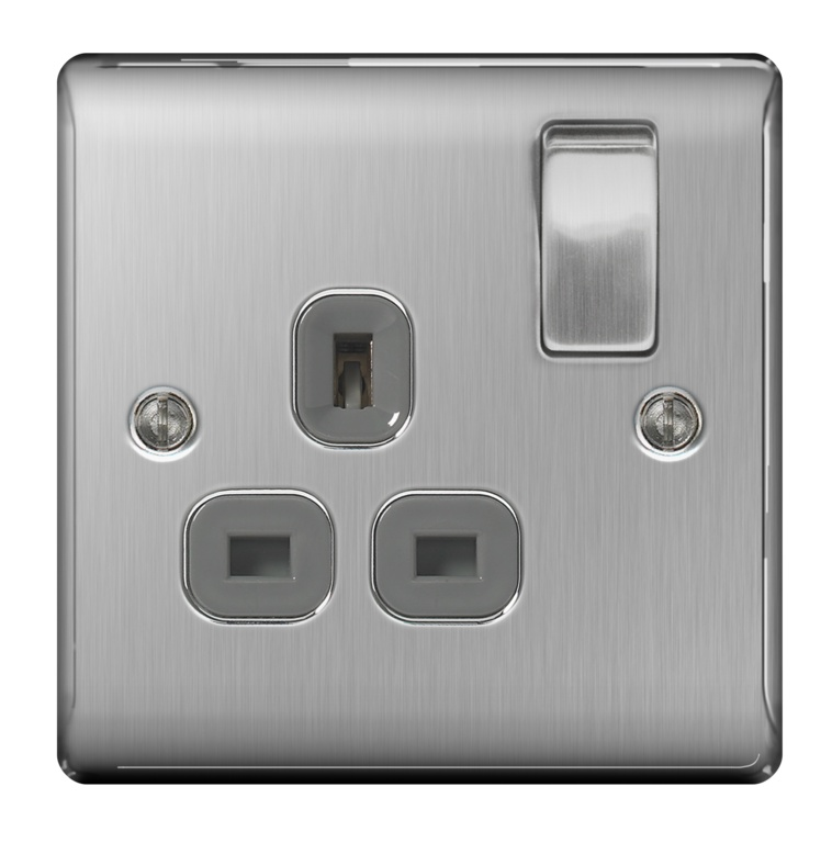 BG Brushed Steel Switched Socket 13a - 1 Gang