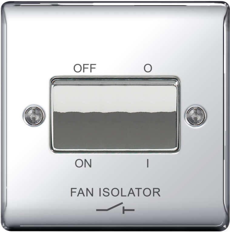 BG 10ax Plate Switch 3 Pole Fan Isolater - Chrome