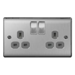 BG Brushed Steel Switched Socket 13a 2gang