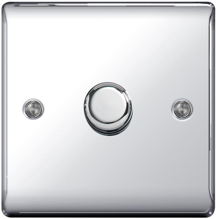 BG Chrome 2 Way Dimmer Switch 400w - 1 Gang