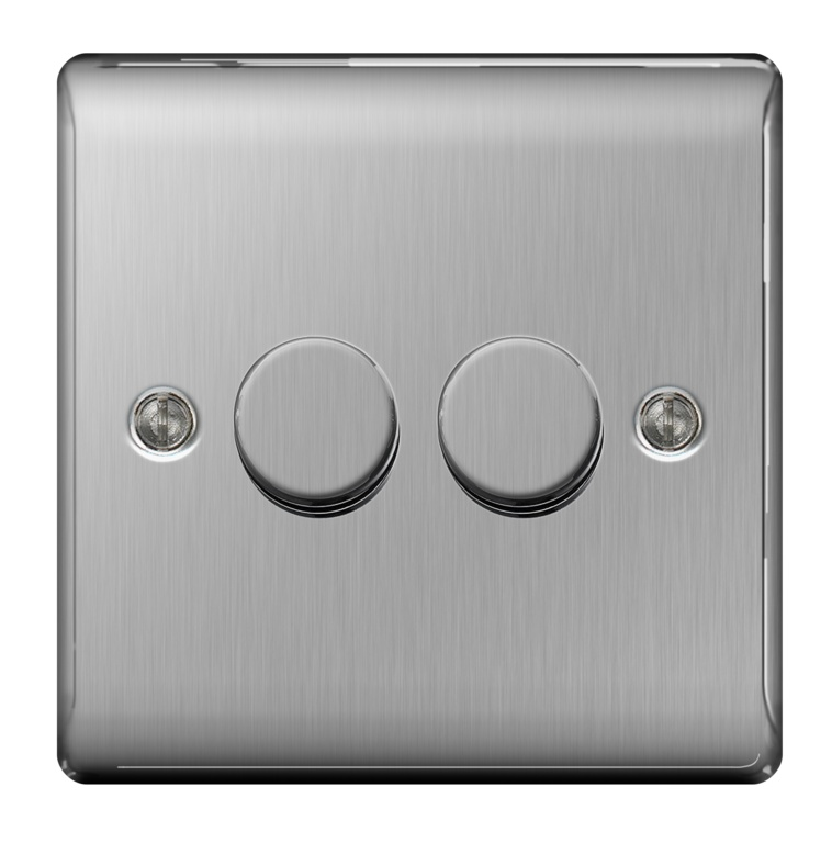 BG Brushed Steel 2 Way Push 400w - 2 Gang