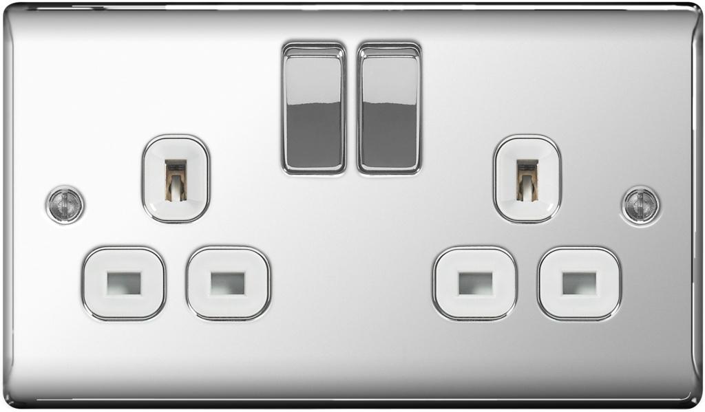 BG Chrome 13a Switched Socket - 2 Gang