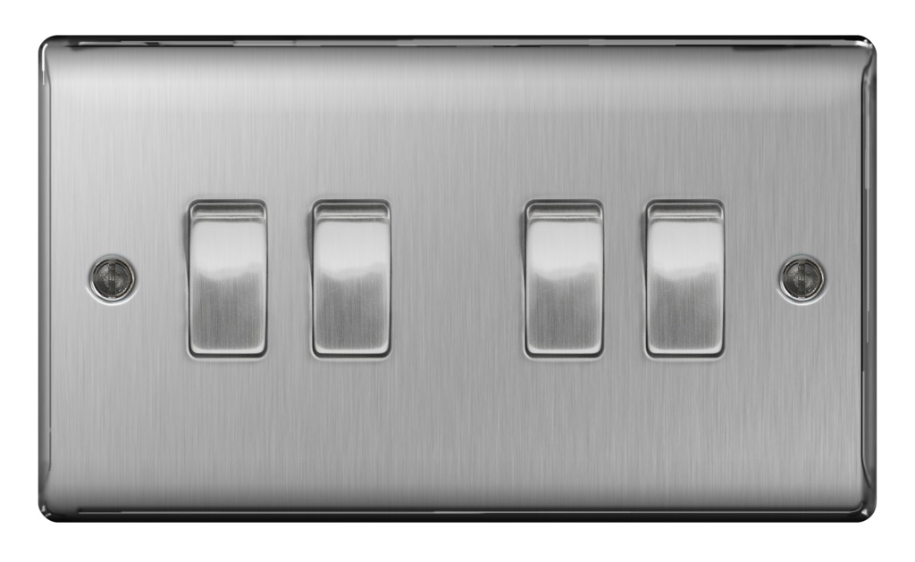 BG Brushed Steel 10ax Plate Switch 2 Way - 4 Gang