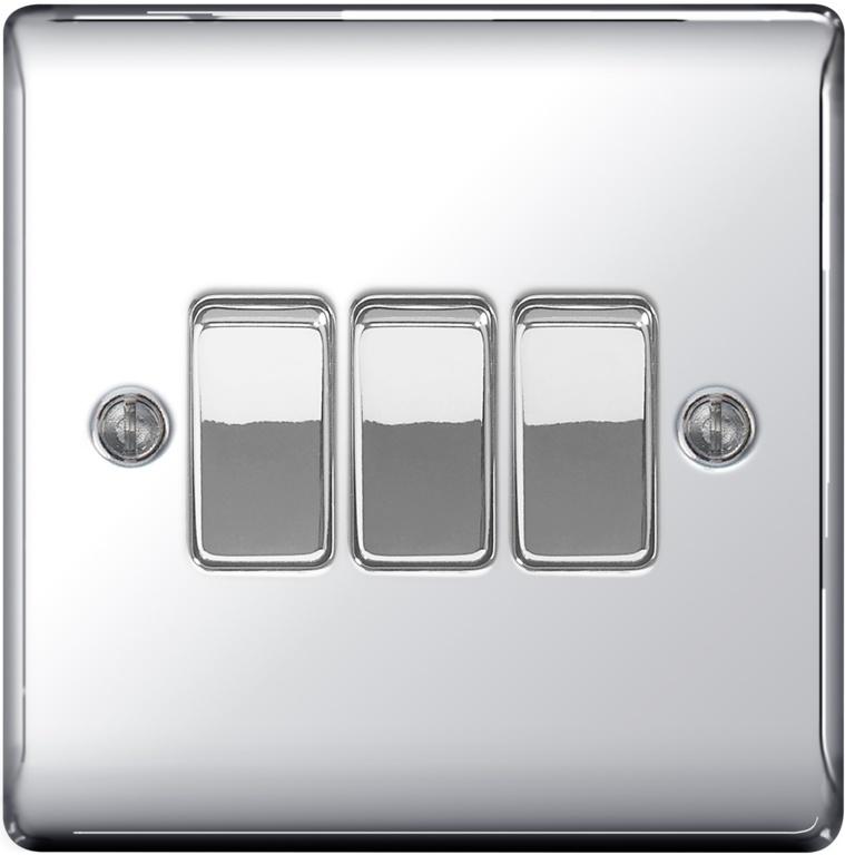 BG Metal Chrome 10ax Plate Switch 2 Way - 3 Gang