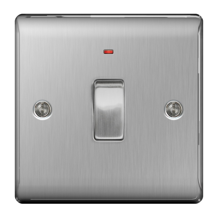 BG Brushed Steel Dp Switch Neon - 20a