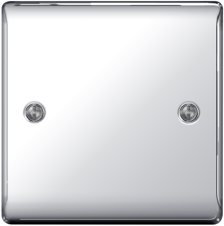 BG Metal Chrome Blank Plate - 1 Gang