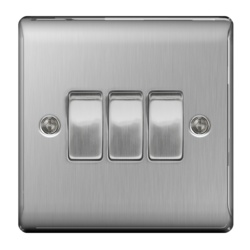 BG Brushed Steel 10ax Plate Switch 2way 3gang