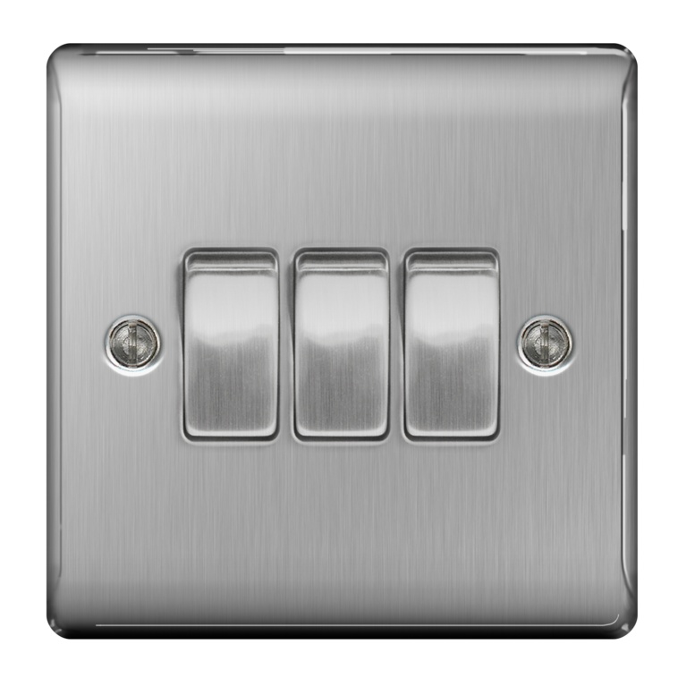 BG Brushed Steel 10ax Plate Switch 2 Way - 3 Gang