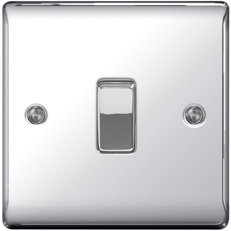 BG Chrome 10ax Plate Switch Intermediate