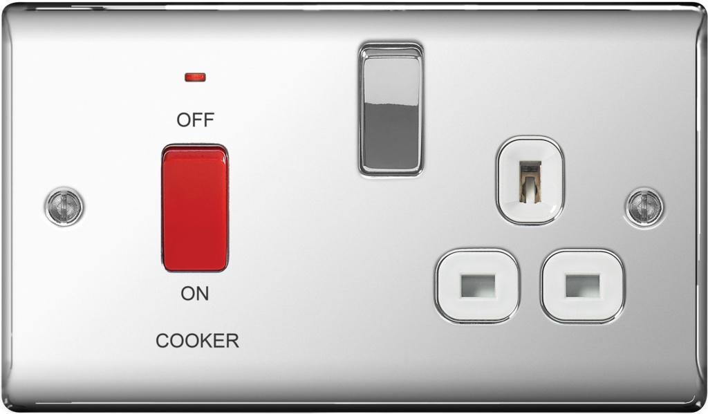 BG Polished Chrome Dp Switch 13a Socket - 45a